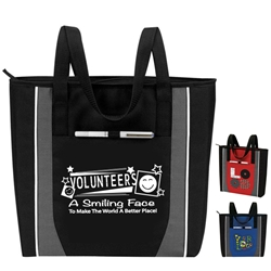 Volunteers: A Smiling Face To Make The World A Better Place! Prime Zip Tote  Volunteer Recognition Tote, Volunteer Theme Tote, All Purpose, Prime, Polyester, Linen, Meeting, Signature, Zip, Promotional Events, Trade Show Bags, Health Fair, Imprinted, Tote, Reusable
