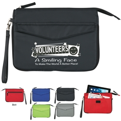 Volunteers: A Smiling Face To Make The World A Better Place! Tablet To Go Case Volunteer Theme, Tablet Holder, Tablet Case, Tecnology Organizer, Imprinted, Personalized, Promotional, with name on it