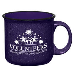 """Volunteers: Building Unity In Our Community""15 Oz. Campfire Mug    15 Oz. Campfire, Mug, Retro, Granite, Stoneware, Mug, Coffee, Cup, Desk, Beverage, colorful, with, handle,Imprinted, Personalized, Promotional, with name on it, Gift Idea, Giveaway,"