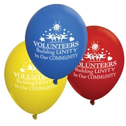 """Volunteers: Building Unity In Our Community"" 9 inch Standard Latex Balloons (Pack of 60 assorted)  Volunteer Theme, Latex balloons, party goods, decorations, celebrations, round shaped balloons, promotional balloons, custom balloons, imprinted balloons"