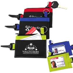 """Volunteers: Building Unity In Our Community"" Clip-On ID Holder with Zip Purse  Volunteer theme, Imprinted, ID Holder, Zipper Purse, ID Window, Holder, Custom, With Logo, with Clip,"
