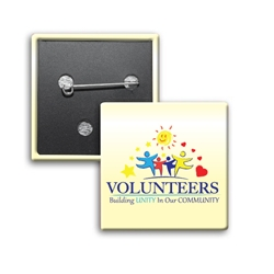 """Volunteers: Building Unity In Our Community"" Square Buttons (Sold in Packs of 25)  Volunteer Recognition, Volunteer, Appreciation, Square Button, Campaign Button, Safety Pin Button, Full Color Button, Button"