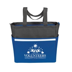 """Volunteers: Building Unity In Our Community"" Two-Tone Accent Zip Tote  volunteer theme, two tone, tote, accent, Tote bag, Promotional, Imprinted, Polyester, Travel, Custom, Personalized, Bag"