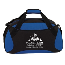 """Volunteers: Building Unity in Our Community""All Sport Duffle  Volunteer Theme, 19"" Sport, Deluxe, Duffle, Promotional, Imprinted, Polyester, Travel, Custom, Personalized, Bag"