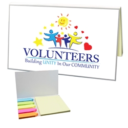 """Volunteers: Building Unity in Our Community"" Color Splash Sticky Notes with Flags    Pen, Mini Flash Light, Pen and flashlight Gift Set, Imprinted, Personalized, Promotional, with name on it"