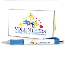 """Volunteers: Building Unity in Our Community"" Sticky Notes with Flags & Pen Set Volunteer Theme, Pen and Sticky Note Set, Imprinted, Personalized, Promotional, with name on it"
