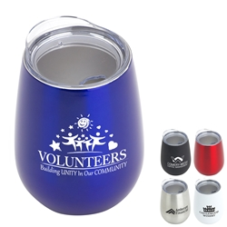 """Volunteers: Building Unity in Our Community"" Tear Drop Stainless Steel Goblet   10 oz wine goblet, wine holder, wine tumbler, Stainless Steel Wine Holder, 10 oz tumbler, Imprinted Tumblers, Stainless Steel Tumblers, Care Promotions,"