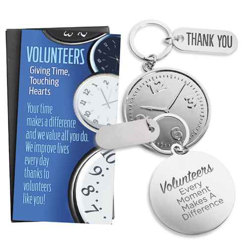 """Volunteers: Every Moment Makes A Difference"" Clock Key Tag & Thank You Charm With Keepsake Card Recognition, Appreciation, Key Tag, Clock, Charm, Volunteer, Gift, Gifts"