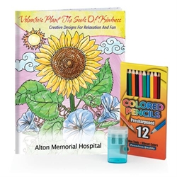 Volunteers Plant The Seeds Of Kindness Adult Coloring Book, Colored Pencils, & Sharpener Gift Set Coloring Books for Adults, Stress Relief, Adult Coloring Books, promotional coloring books