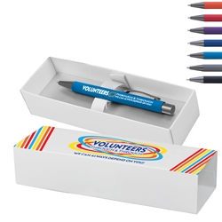 """Volunteers: Through and Through We Can Always Depend On You!"" Bowie Softy Pen & Gift Box Volunteer Theme, Decorated, Pen with gift box, Pen and Gift Box, Logo Pen and Gift Box, Imprinted, Personalized, Promotional, with name on it"