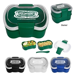 """Volunteers: Through and Through We Can Always Depend On You"" On-The-Go Convertible Lunch Set  Volunteer Recognition, Volunteer Appreciation, Lunch Dish, Lunch Plate, Lunch Set, Lunch Box, Imprinted, Personalized, Promotional, with name on it, Gift Idea, Giveaway, novelty pen, promotional pen, fidget spinner pen"