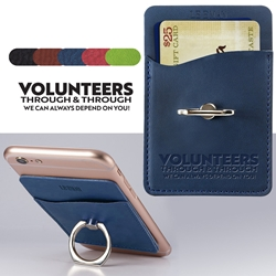 """Volunteers: Through and Through We Can Always Depend On You"" Tuscany Card Holder with Metal Ring Phone Stand Volunteer, Appreciation, Recognition, Week, Team, Day, Theme, Appreciation, business gifts, corporate holiday gifts, custom smart phone wallet, custom printed smartphone wallet, customized phone wallet, promotional phone stand, cell phone promotional products, employee appreciation gifts, recognition gifts, custom logo thank you gifts"
