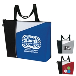 """Volunteers: Through & through We Can Always Depend On You"" Slant All Purpose Zippered Tote  Volunteer, Appreciation, Recognition, Volunteer theme, All Purpose tote,  Imprinted, Tote Bag, Travel, Custom, Personalized, Bag"