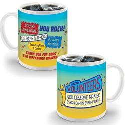 """Volunteers: You Deserve Praise Every Day in Every Way!"" 11 oz SimpliColor Mug 11 oz, ceramic mug, full, color, logo,  4 Color Process, Imprinted, Personalized, Promotional, with name on it"