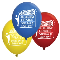 """Volunteers: You Deserve Praise Every Day in Every Way"" 9 inch Crystal Latex Balloons (Pack of 60 assorted)  Volunteer Theme, Latex balloons, party goods, decorations, celebrations, round shaped balloons, promotional balloons, custom balloons, imprinted balloons"