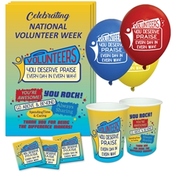 """Volunteers: You Deserve Praise Every Day in Every Way"" Celebration Party Pack   Poster, Buttons, Pens, Cups, Party, Pack, Celebration Pack, Volunteers, Appreciation, Week, Volunteer,  Day theme Celebration Pack"