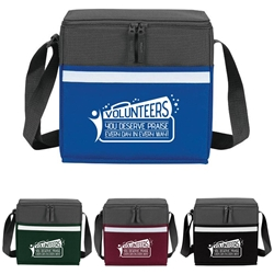 """Volunteers: You Deserve Praise Every Day in Every Way"" Two-Tone Accent 12-Pack Cooler  two tone, cooler, accent, lunch bag, 12 pack cooler, Promotional, Imprinted, Polyester, Travel, Custom, Personalized, Bag"