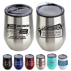 """Volunteers: You Make A Difference In So Many Ways"" 12 oz Stainless Steel/Polypropylene Wine Goblet 11 oz wine goblet, wine holder, wine tumbler, Stainless Steel Wine Holder, 10 oz tumbler, Imprinted Tumblers, Stainless Steel Tumblers, Care Promotions,"