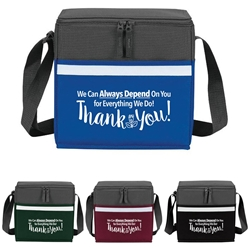 """We Always Depend On You For Everything We Do, Thank You"" Two-Tone Accent 12-Pack Cooler   Employee, staff, appreciation, lunch cooler, gifts, two tone, cooler, accent, lunch bag, 12 pack cooler, Promotional, Imprinted, Polyester, Travel, Custom, Personalized, Bag"