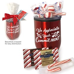 """We Appreciate Your Committ-MINT"" Wine Tumbler Peppermint Gift Set  Wine Tumbler Gift Set, Employee Appreciation, Recognition, Holiday, Wine Tumbler, Goblet, 11 oz wine goblet, wine holder, wine tumbler, Stainless Steel Wine Holder, 10 oz tumbler, Imprinted Tumblers, Stainless Steel Tumblers, Care Promotions,"