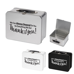 """We Can Always Depend On You For Everything We Do, Thank You!"" Throwback Tin Lunch Box Employee Appreciation Day, Lunch Tin, Retro, Lunch Box, Imprinted, Personalized, Promotional, with name on it, Gift Idea, Giveaway, novelty pen, promotional pen, fidget spinner pen"