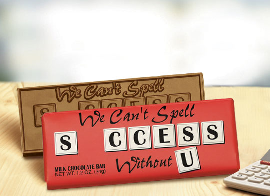 """We Cant Spell Success Without U"" Chocolate Bar Employee Appreciation, Employee Recognition, Holiday Gifts, Business Gifts, Corporate Gifts, Holiday Parties, chocolate, Appreciation Gifts"
