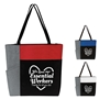 """We Love Our Essential Workers..Thanks For All You Do"" Color Block Pocket Zip Tote   Essential Worker Appreciation, Employee Recognition, Tote, Recognition, Color, block, Zip, Multi-Function, Luggage Loop Tote Bag, tote, Imprinted, Travel, Custom, Personalized, Bag"