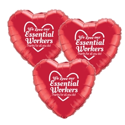 """We Love Our Essential Workers, Thanks For All You Do!"" Red Heart Shaped Foil Balloons (Pack of 12)   Essential Workers, Appreciation, Week, Theme, Recognition, foil balloons, mylar, party goods, decorations, celebrations, round shaped balloons, promotional balloons, custom balloons, imprinted balloons"