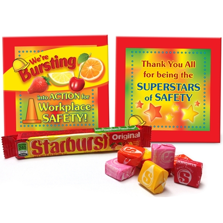 We're Bursting Into Action for Workplace Safety Starburst Treat Set | Safety Meeting Giveaways | Care Promotions