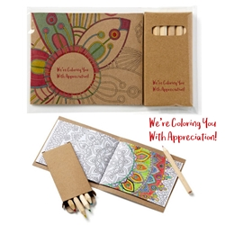 Were Coloring You with Appreciation! Coloring Book & 6-Color Pencil Set To-Go   mini adult coloring book, adult coloring book and pencil set, imprinted adult coloring book, adult coloring book with logo, adult coloring book giveaway, promotional products, employee appreciation, employee recognition, smiley face