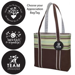 West Hampton Tote with Appreciation Bag Tag (Brown Stripes)