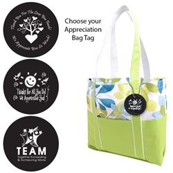 West Hampton Tote with Appreciation Bag Tag (Lime Butterfly)