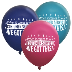 """When it Comes To Our Customer Service...WE GO THIS! Balloons (Pack of 60 assorted)  Customer Service, Theme, Customer Service Week, Balloons, Party, Decorations, theme, Customer Service, CSRs, Week, National, Theme, Latex balloons, party goods, decorations, celebrations, round shaped balloons, promotional balloons, custom balloons, imprinted balloons"