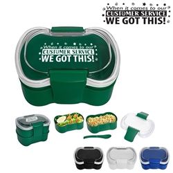 """When it Comes To Our Customer Service...We Got This!"" On-The-Go Convertible Lunch Set  Customer Service theme, lunch plate, Lunch Dish, Lunch Plate, Lunch Set, Lunch Box, Imprinted, Personalized, Promotional, with name on it, Gift Idea, Giveaway, novelty pen, promotional pen, fidget spinner pen"