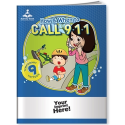 When to Call 9-1-1 Activity Book with Temporary Tattoos 9-1-1, safety promotional items, kids safety, emergency, child safety, public safety, community affairs, community outreach