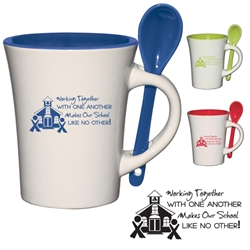 Working Together With One Another Makes Our School Like No Other! 8 oz. Blanco Spooner Mug 8 Oz. Blanco Spooner Mug, Teachers, Teacher, School, Staff, Assistants, 10 oz, Blanco, Spooner, Mug, Ceramic, with, removable, spoon, Coffee, Desk, Cup, Imprinted, Personalized, Promotional, with name on it, Gift Idea, Giveaway,,