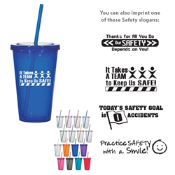 Workplace Safety Reminder 16 Oz. Double Wall Acrylic Tumbler With Straw  Workplace Safety Reminders, 16 Oz. Double Wall Acrylic Tumbler With Straw, Double Wall, Acrylic, with, straw, Cup, Tumbler, Imprinted, Personalized, Promotional, with name on it, Gift Idea, Giveaway,