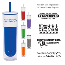 Workplace Safety Reminder 16 Oz. Quench Bottle With Lid And Straw  Workplace Safety Reminder,16 Oz. Quench Bottle With Lid And Straw, Quench, Bottle, Water, Waterbottle, Water Bottle, with Lid, straw, clear, colors, Imprinted, Personalized, Promotional, with name on it, Gift Idea,,
