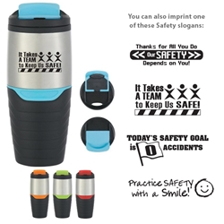 Workplace Safety Reminder 16 Oz. Stainless Steel Tumbler With Flip Lock Lid  Workplace Safety, 16 Oz. Stainless Steel Tumbler With Flip Lock Lid, Stainless, Steel, Tumbler, Travel, Flip, Top, Lock, Lid, Mug, Imprinted, Personalized, Promotional, with name on it, Gift Idea, Giveaway,