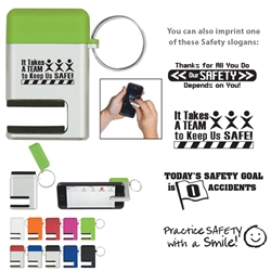 Workplace Safety Reminder 2 In 1 Phone Stand/Screen Cleaner With Key Ring  2 In 1 Phone Stand/Screen Cleaner With Key Ring, Workplace Safety, 2-in-1, Phone, Stand, Screen, Cleaner, with, Key, Ring, Key, Tag, Chain, Imprinted, Personalized, Promotional, with name on it, giveaway,