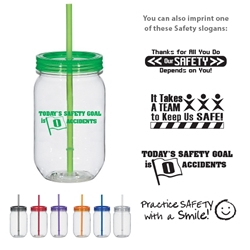 Workplace Safety Reminder 25 Oz. Mason Jar With Matching Straw Workplace Safety, 25 Oz. Mason Jar With Matching Straw, Mason, jar, Matching, Straw, Candy, Imprinted, Personalized, Promotional, with name on it, Gift Idea,