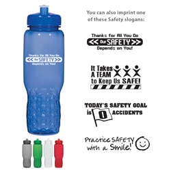 Workplace Safety Reminder 32 Oz. Hydroclean™ Sports Bottle With Groove Grippers  Workplace Safety, Reminder, 32 Oz. Hydroclean Sports Bottle With Groove Grippers, Hydroclean, Sports, Bottle, Waterbottle, Water, Bottle, Grip, Gripper,Imprinted, Personalized, Promotional, with name on it, Giveaway,