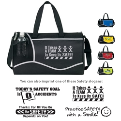 Workplace Safety Reminder Cross Sport Duffles Workplace Safety Reminder, Cross, Sport, Deluxe, Duffle, Promotional, Imprinted, Polyester, Travel, Custom, Personalized, Bag