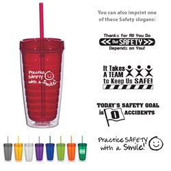 Workplace Safety Reminder Econo 16 Oz. Double Wall Tumbler With Lid And Straw  Workplace Safety Reminders, Econo 16 Oz. Double Wall Tumbler With Lid And Straw, Economy, 16 oz., Double Wall, Tumbler, Mug Travel, Acrylic, Translucent, with, Straw, Imprinted, Personalized, Promotional, with name on it, Gift Idea, Giveaway,