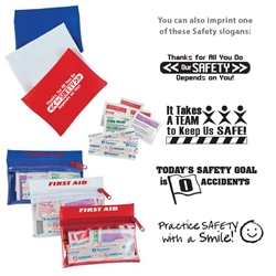 Workplace Safety Reminder First Aid Travel Kit  Workplace Safety Reminders, First Aid Travel Kit, First, Aid, Travel, Kit, Purse, Pouch, Imprinted, Personalized, Promotional, with name on it, giveaway