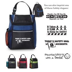 Workplace Safety Reminder Link Lunch Cooler Workplace Safety, Link, Lunch Cooler, Lunch Bag, Cooler, Waterbottle pocket Lunch Bag, PVC, Promotional, Imprinted, with name on it, with logo,
