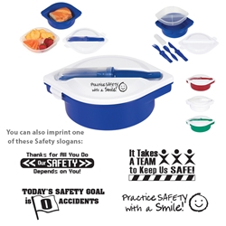 Workplace Safety Reminder Multi-Compartment Food Container With Utensils   Multi-Compartment Food Container With Utensils, Safety, Reminders, Workplace Safety,  Multi-Compartment, Food Container, with, Utensils, Imprinted, Personalized, Promotional, with name on it, giveaway,