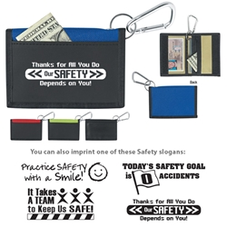 Workplace Safety Stock Design Velcro® Wallets With Carabiner  Workplace Safety, Stock Safety, Velcro® Wallet With Carabiner, recognition, Wallet, with, Carabiner, Imprinted, Personalized, Promotional, with name on it, giveaway,