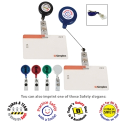 Workplace Safety Theme Retractable Badge Holders with Laminated Label  Safety Theme, Retractable Badge Holder With Laminated Label, Retractable, Badge, Holder, with, Laminated, Label, Imprinted, Personalized, Promotional, with name on it, giveaway,