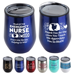 """Year of the Emergency Nurse 2020...Front Line Heroes, Helping Us Win!"" 12 oz Stainless Steel/Polypropylene Wine Goblet  Emergency, Nurses, ER, Theme, Wine Tumbler, Goblet, 11 oz wine goblet, wine holder, wine tumbler, Stainless Steel Wine Holder, 10 oz tumbler, Imprinted Tumblers, Stainless Steel Tumblers, Care Promotions,"